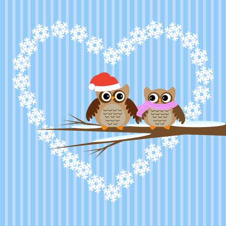 Winter  vector card.Owls couple in love. Vector