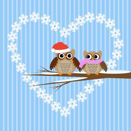 Winter  vector card.Owls couple in love. Stock Vector - 11648194