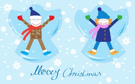 angel tree: Happy boy and girl making a Snow Angel.Christmas vector card Illustration