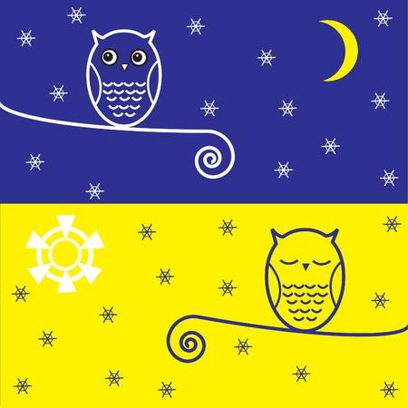 dia y noche: Dos búhos en la rama con copos de nieve. Noche y postal day.Vector.