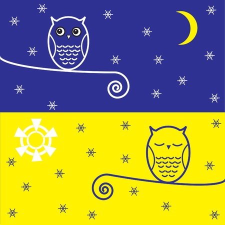 sunny cold days: Two  owls on branch with snowflakes. Night and day.Vector postcard. Illustration