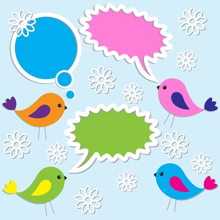 Cute birds with speech bubbles Illustration