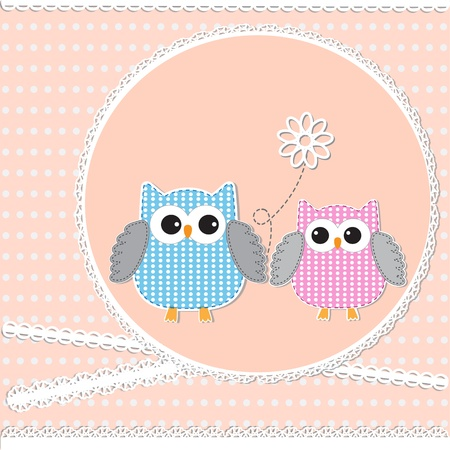 Card with owls. Vector