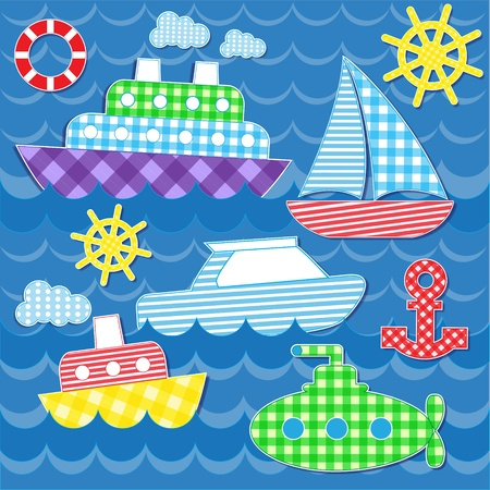 cruise cartoon: Set of vector colorful sea transport stickers