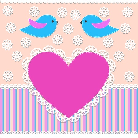 Greeting card with birds.Vector illustration in scrapbook style Vector