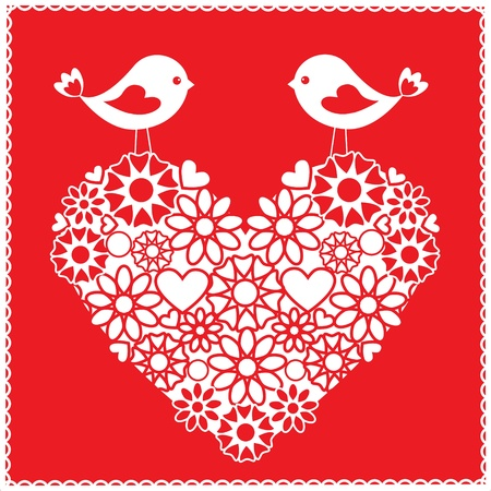 stitched: Greeting card with birds for Valentines day Illustration
