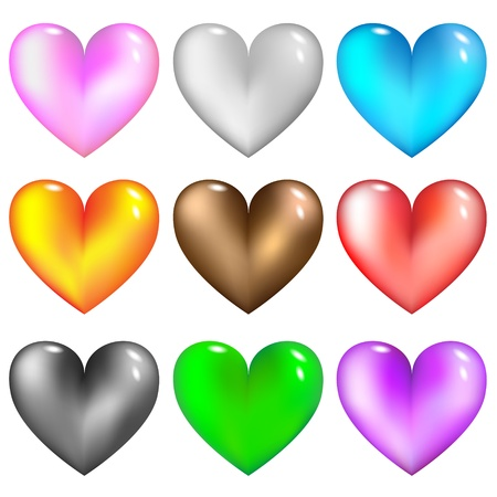 Colorful glass hearts icon for web.Vector set.