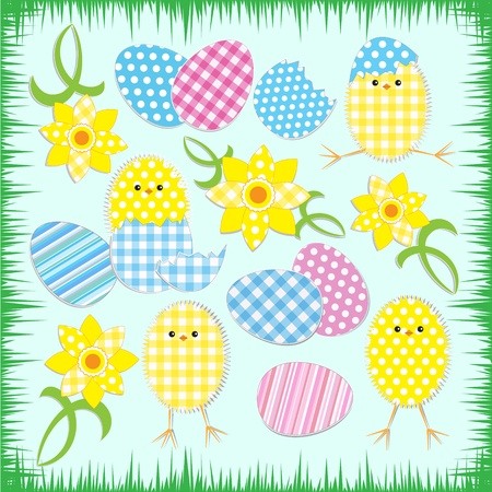 Cute easter chickens.Vector textile stickers Vector