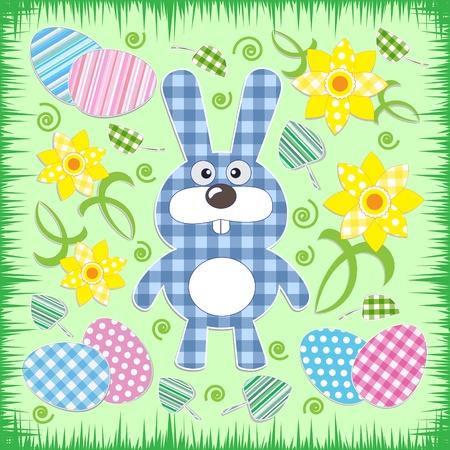 Cute Easter bunny.Vector textile stickers Vector