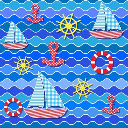 sails: Baby seamless sea pattern.Vector illustration