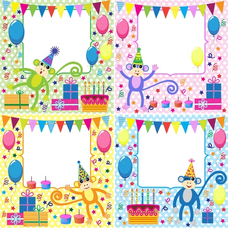 Vector set of birthday cards with funny monkeys Illustration