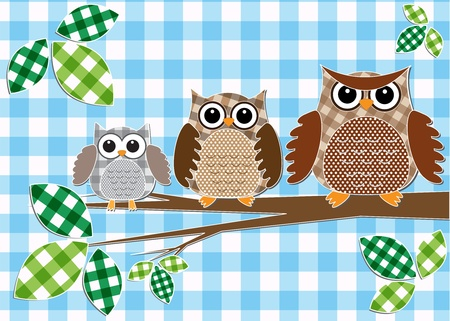 Cute family of owls.Vector textile stickers