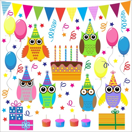 Birthday party elements with funny owls.Vector set Vector