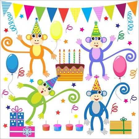 serpentinas: Conjunto de elementos vectoriales fiesta de cumpleaños con los monos graciosos