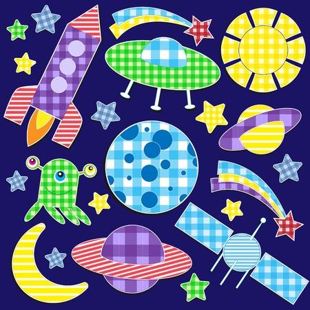 nave espacial: Cartoon space stickers.