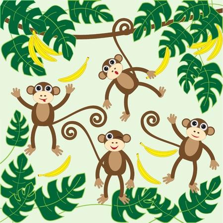 banana caricatura: Cuatro dibujos animados lindos ilustraci�n monkeys.vector