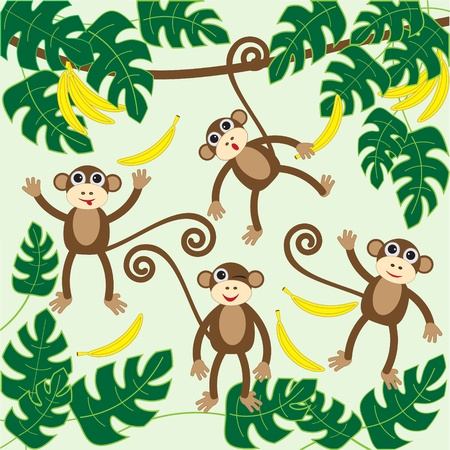 banana leaf: Four cute cartoon monkeys.vector illustration