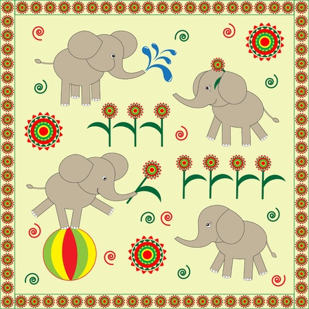Four cute Babies elephants.Vector illustration Vector