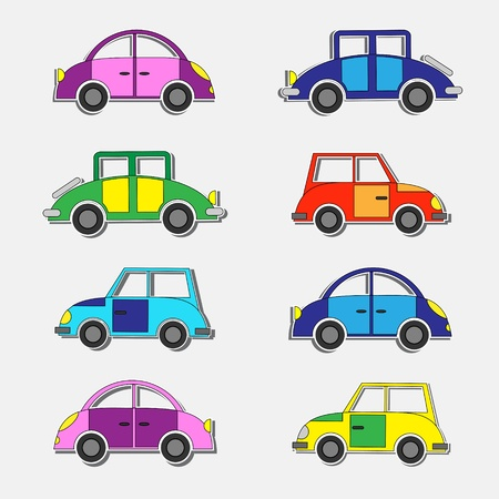 Colorful retro cars stickers.Vector set Vector