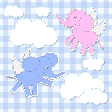 Cute babies-elephants angels. stickers Vector