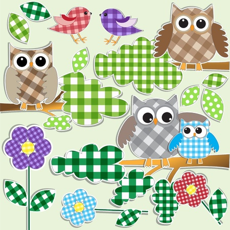 patchwork: Textile stickers of owls and birds in forest.  Illustration