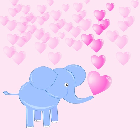 Cute baby elephant making soap bubbles in shape heart Vector