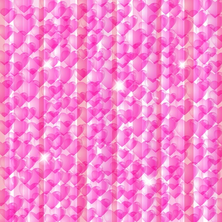 Pink Valentines day background with glossy hearts  Vector