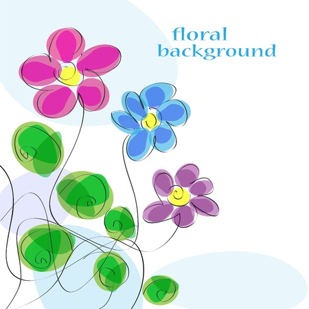 Cute floral background  Hand-drawn vector Stock Vector - 12484569