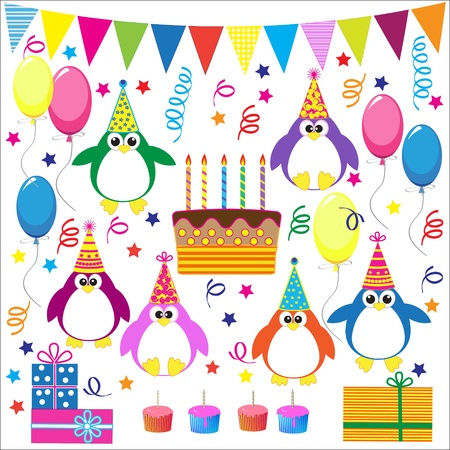 Birthday party elements with funny penguins Vector set Illustration