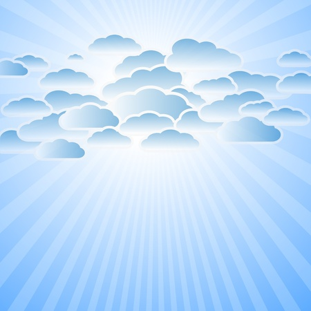 Clouds and sun rays Vector eps10 Vector