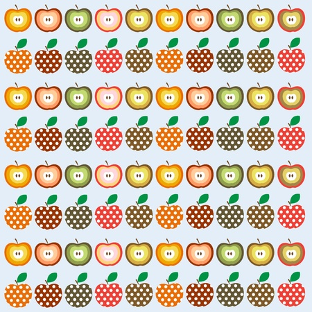 Retro seamless illustration pattern with apples