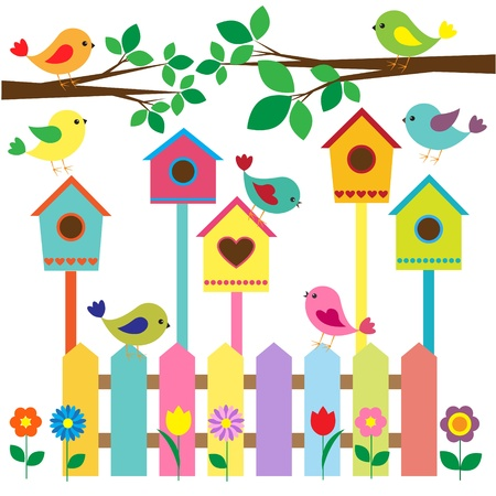 Collection of colorful birds and birdhouses  Ilustrace