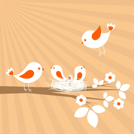 animal nest: Birds family. Spring card