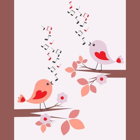 Cute birds singing .Seamless illustration