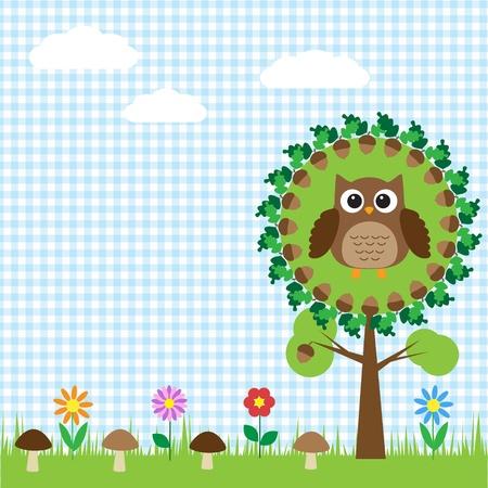 Cute owl sitting on oak Vector