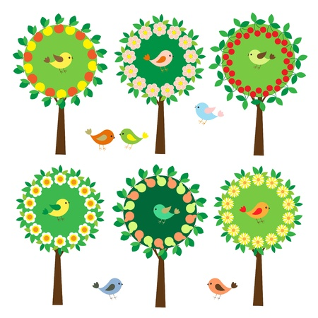 Collection of trees with cute colorful birds Vector