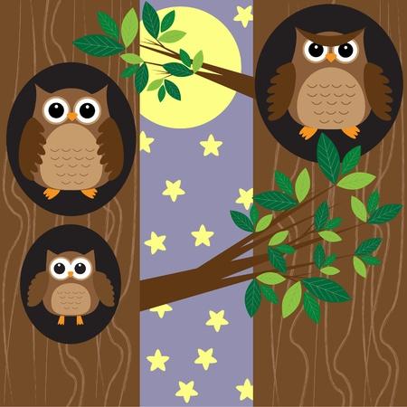 夜の森林のフクロウの家族。