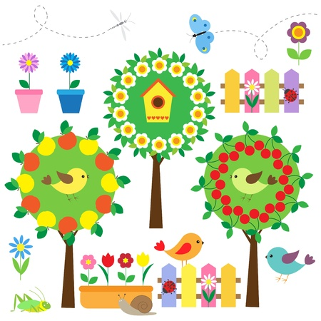 apple orchard: Cute garden set with birds,flowers and insects  Illustration