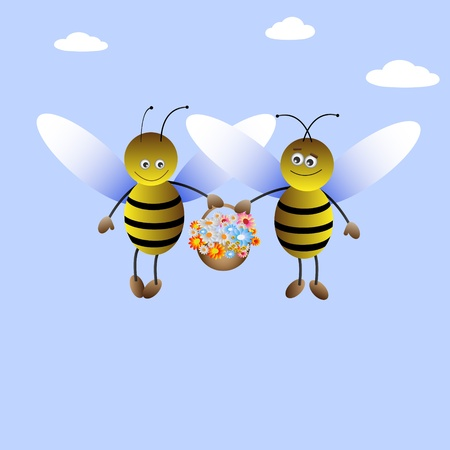 bee hive: Cartoon bee-boy and bee-girl