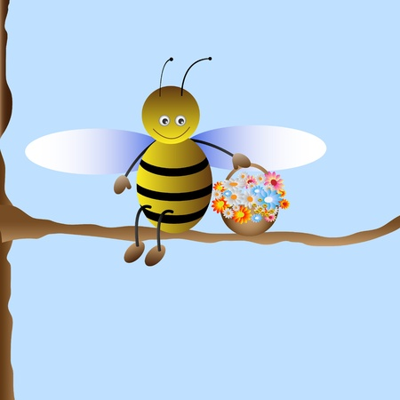 Cute cartoon bee. Vector