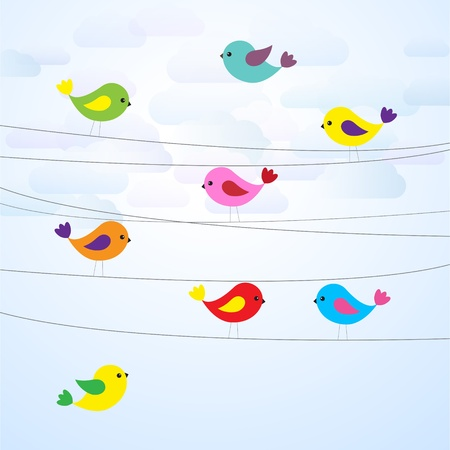 simple life:  Cute colorful birds on wires