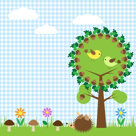 Oak and birds,flower, mushroom and hedgehog Vector