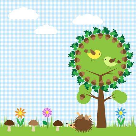 patchwork landscape: Oak and birds,flower, mushroom and hedgehog