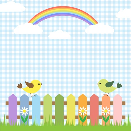 Cute birds and rainbow.card design Stock Vector - 12829296