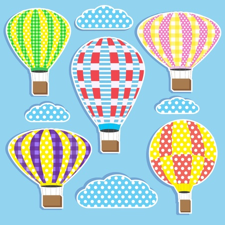 baby scrapbook: Set of colorful hot air balloons.Stickers  Illustration