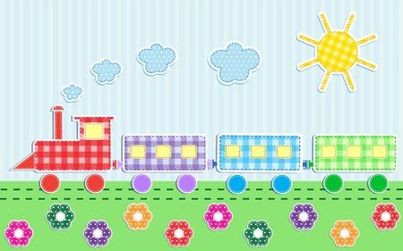 Cute cartoon train. Textile stickers Vector
