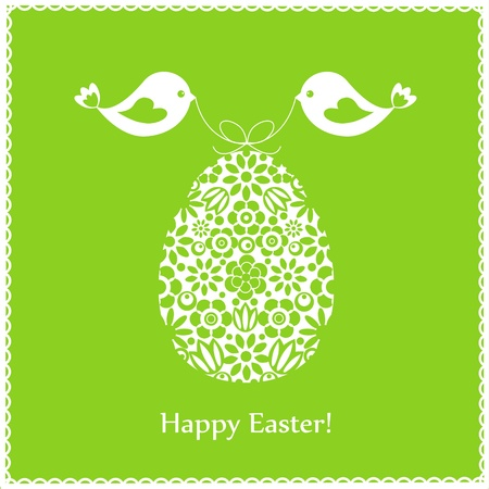 Green greeting card with birds for Easter
