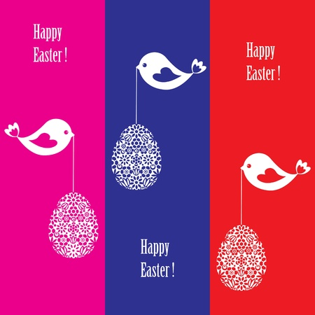 Greeting card with birds for Easter Vector