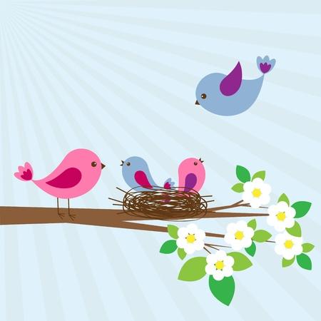 oiseau dessin: Famille d'oiseaux dans le jour de printemps