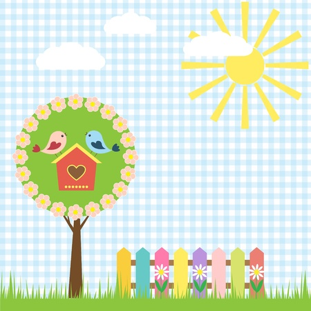 birdhouse: Spring background with birds